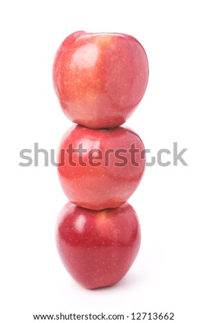 Red apple with white background, close up shot