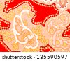 Red artistic batik fabric as background - stock photo