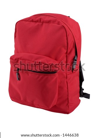 Red backpack expertly outlined and ready to drop into your design. Other angles of this same backpack also available.