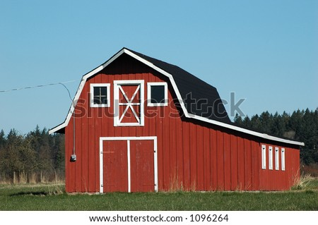 New Red Barn Old Style Stock Photo 13964077 Shutterstock