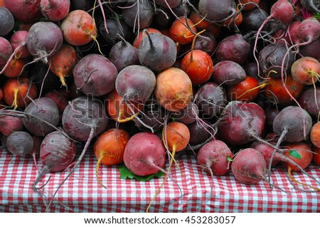 Red beets on table at farmer's market
