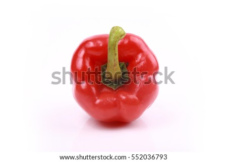 Red bell peppers isolated on white background.