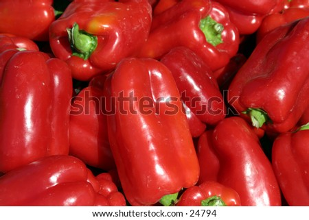 red bell peppers with green stems