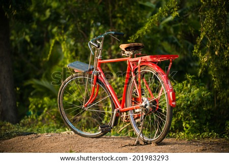 Red bicycle in park