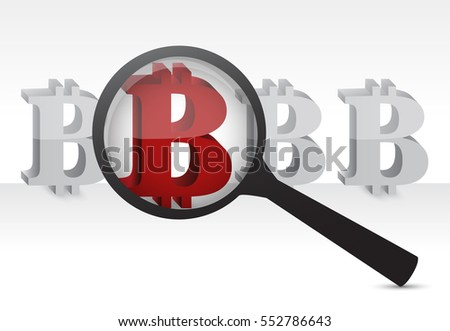 red bitcoin under a magnify glass with arrows illustration design graphic over white
