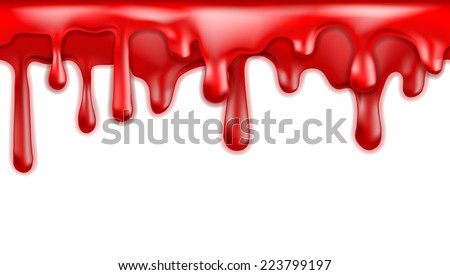 Red blood drips seamless patterns on white background.