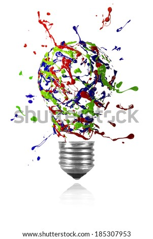Red blue green paint splah made conceptual light bulb