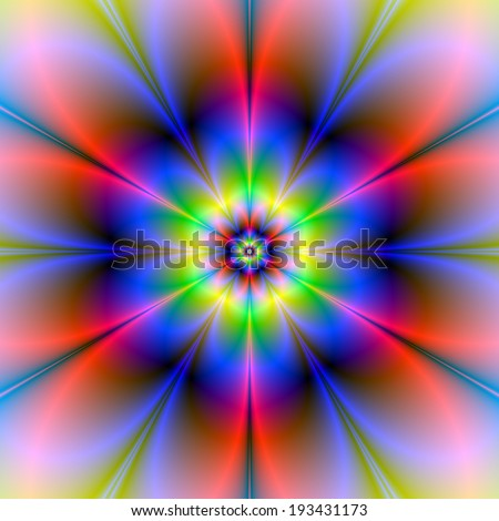 Red Blue Yellow and Green Flower / A digital fractal image with a six petal flower design in red, blue, yellow and green.
