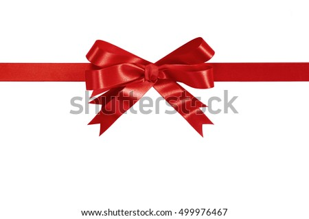 Red bow gift ribbon horizontal isolated
