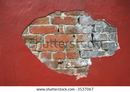 Red brick wall background shot in New Orleans French Quarter