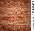 red brick wall texture grunge background with vignetted corners of interior - stock vector