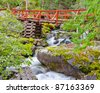 Red bridge and mountain river on Remote Camp trail at Stein Valley Heritage Park in British Columbia, Canada. - stock photo
