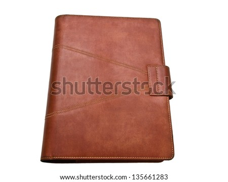 Red brown leather organizer isolated on white background