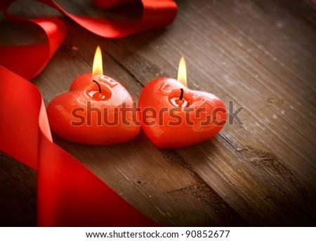 Burning Candle Heart Red burning heart shaped
