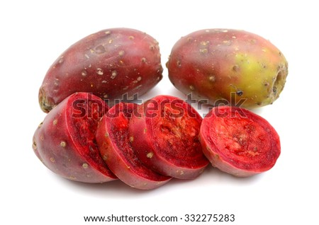 red cactus pears on white background