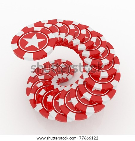 Red Casino Chips  with star located in helix on white