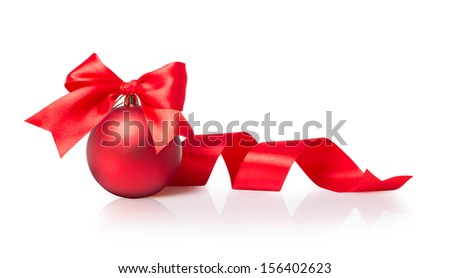 Red Christmas ball with bow