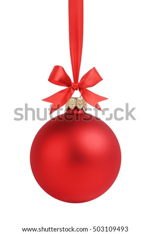 red christmas ball with red ribbob bow hanging isolated on white background