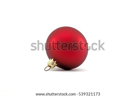 Red christmas Bauble isolated on white-Traditional ornament happy winter holidays Merry Xmas symbol golden.