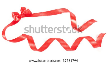 red christmas bow with curl ribbons  on white background