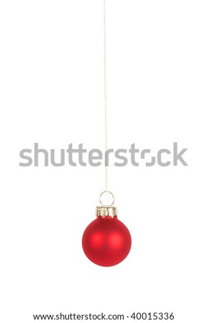 Red Christmas tree ball, isolated