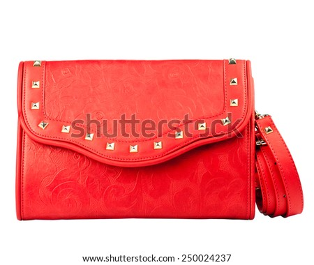 Red clutch isolated on white background.