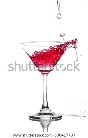 Red coctail splash on white background close up