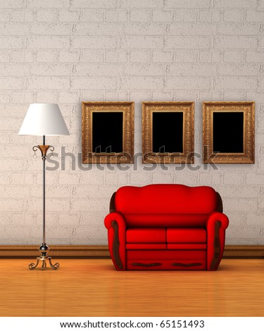 Red couch with standard lamp and picture frames in minimalist interior