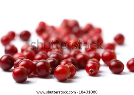 red cranberries isolated