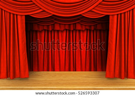 Stage Red Curtains Illustration Stock Vector 549676060