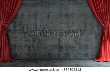 Red curtains hanging on concrete wall. Mock up background. 3D Render.