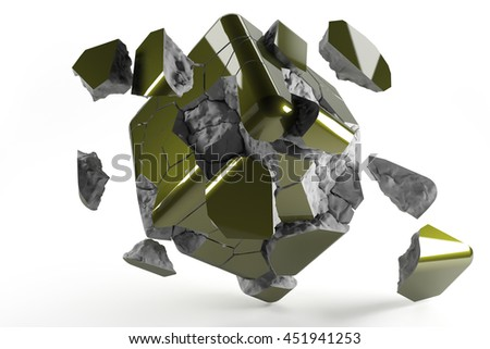 Red destructed 3d cube with cracked lines 3d render
