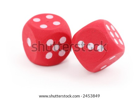 red dices on isolated background