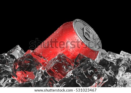 Red drink can on the ice bed 3D illustration