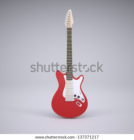 Red electric guitar. Render in the studio