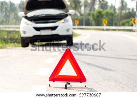 Red Emergency Stop Sign Broken Silver Stock Photo 422256712