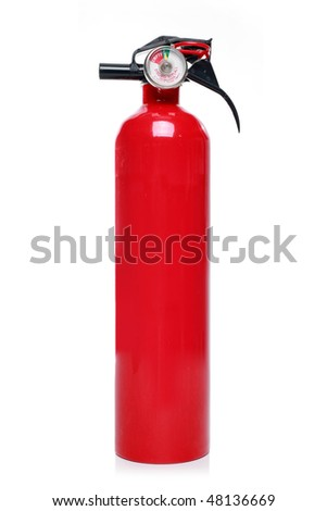 Red fire extinguisher, isolated against white background.
