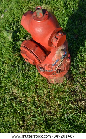 Red fire hydrant on grass
