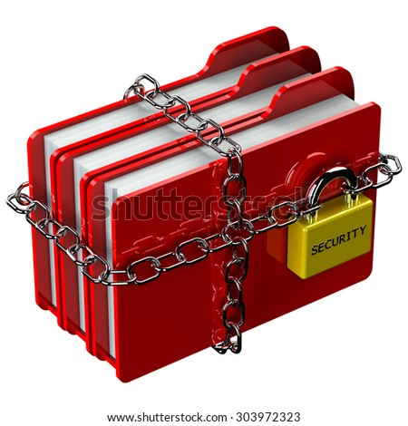 Red folders with chain with padlock with word security isolated on white background. 3D render.