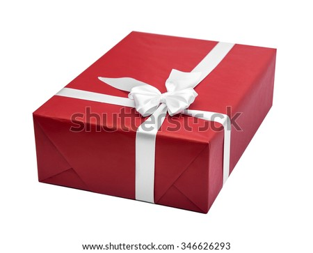 Red gift box with white ribbon. Isolated on white background.