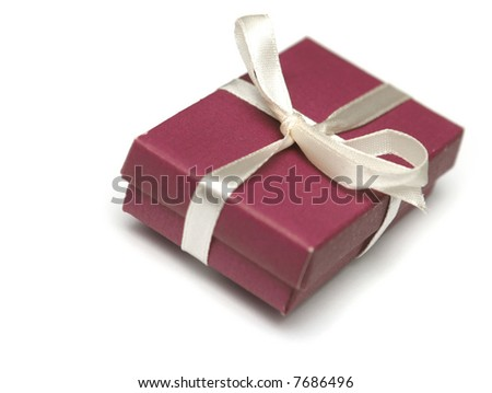 Red gift on a white background