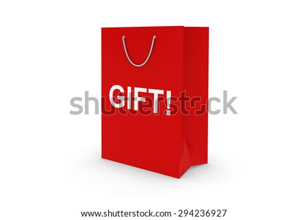 Red GIFT! Paper Shopping Bag Isolated on White
