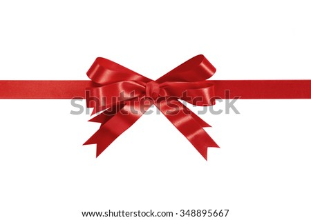 Red gift ribbon bow straight horizontal isolated