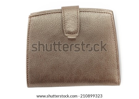Red gold leather wallet isolated on white background