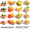 Red grapefruits, lychees, kiwi, passion fruit, yellow and green lemon isolated on white - stock photo
