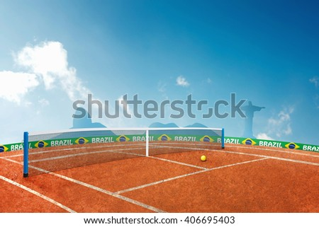 Red ground tennis 3D Illustration