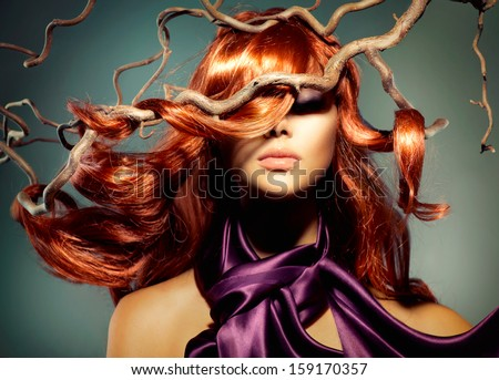 Red Hair. Fashion Model Woman Portrait with Long Curly Red Hair. Hair Extension