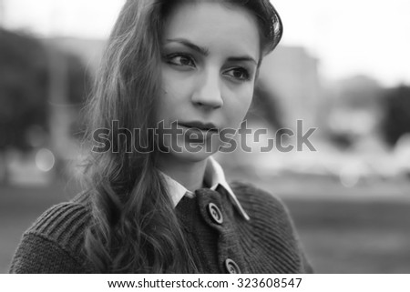 red-haired girl in autumn jacket