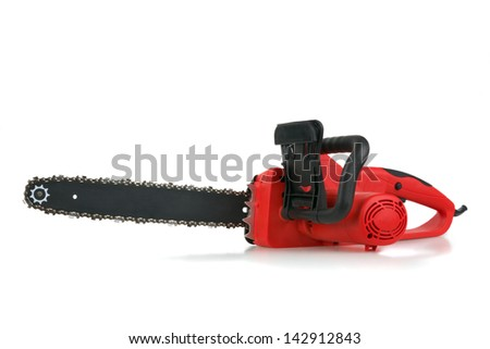 Red hand electric chainsaw on white background