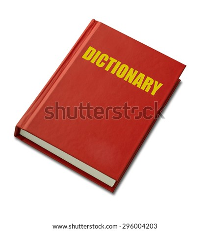 Red hardback Dictionary on white background(clipping path)
